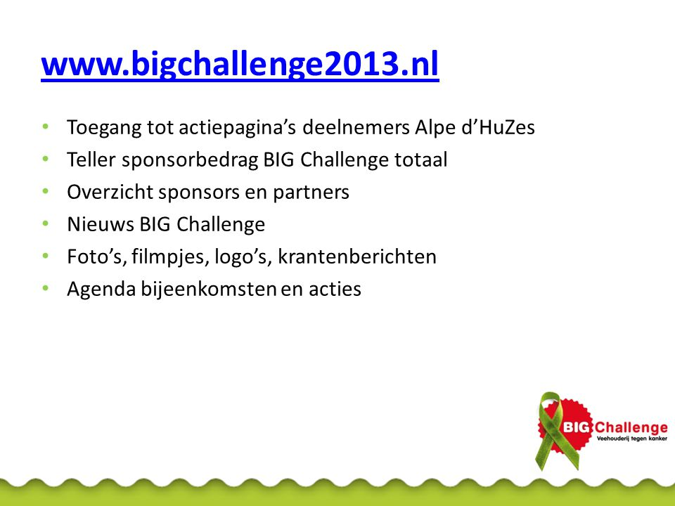 Website BIG Challenge-inlog Belangrijkste: • Zelf lijst potentiële sponsors bijhouden via inlog • Vrienden (tot 500 euro) zelf uploaden via inlog Inlog = Teamlogin • Gebruikersnaam: bigchallenge • Wachtwoord: welkom@10