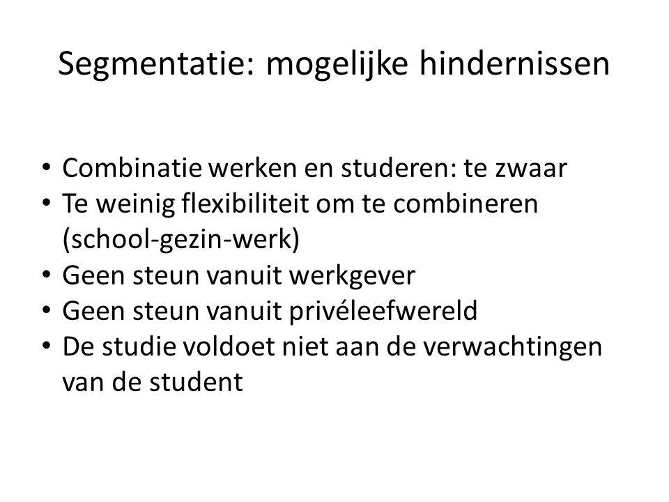 Segmentatie: mogelijke hindernissen • Combinatie werken en studeren: te zwaar • Te weinig flexibiliteit om te combineren (school-gezin-werk) • Geen st