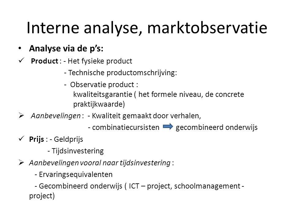 Interne analyse, marktobservatie • Analyse via de p's:  Product : - Het fysieke product - Technische productomschrijving: - Observatie product : kwal