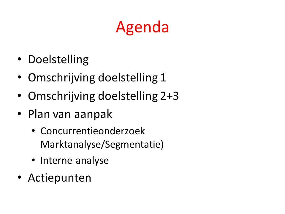 Agenda • Doelstelling • Omschrijving doelstelling 1 • Omschrijving doelstelling 2+3 • Plan van aanpak • Concurrentieonderzoek Marktanalyse/Segmentatie) • Interne analyse • Actiepunten