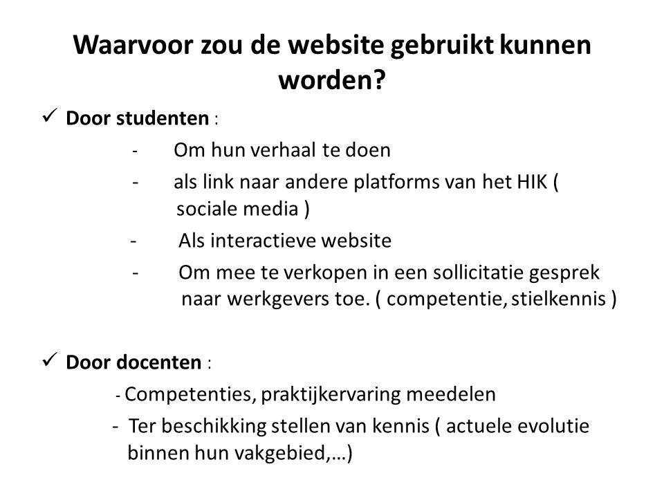 Waarvoor zou de website gebruikt kunnen worden?  Door studenten : - Om hun verhaal te doen -als link naar andere platforms van het HIK ( sociale medi