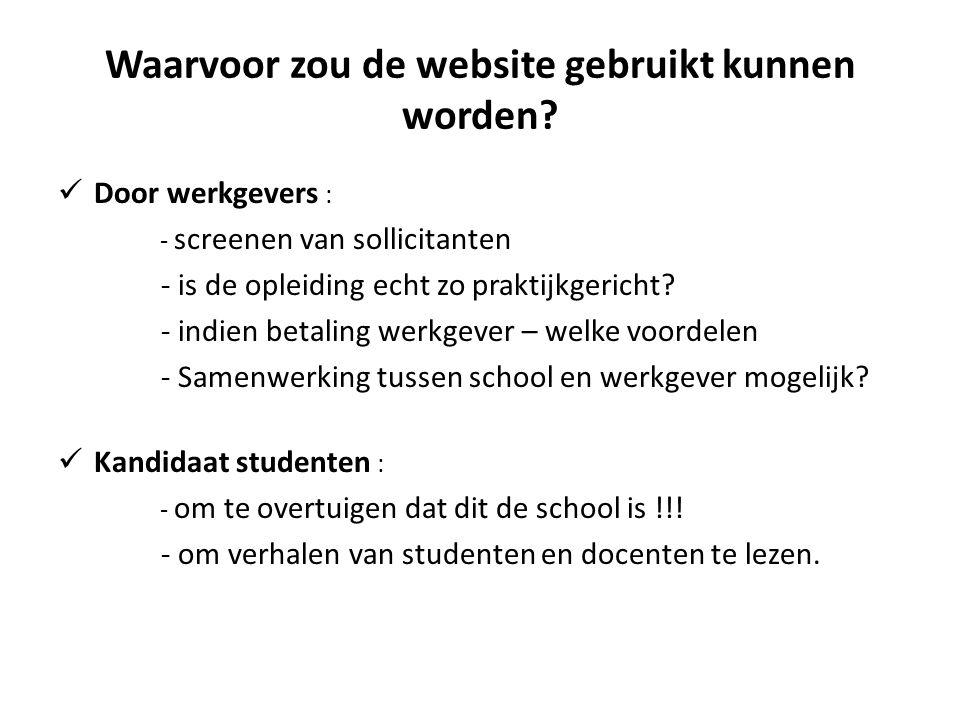 Waarvoor zou de website gebruikt kunnen worden?  Door werkgevers : - screenen van sollicitanten - is de opleiding echt zo praktijkgericht? - indien b