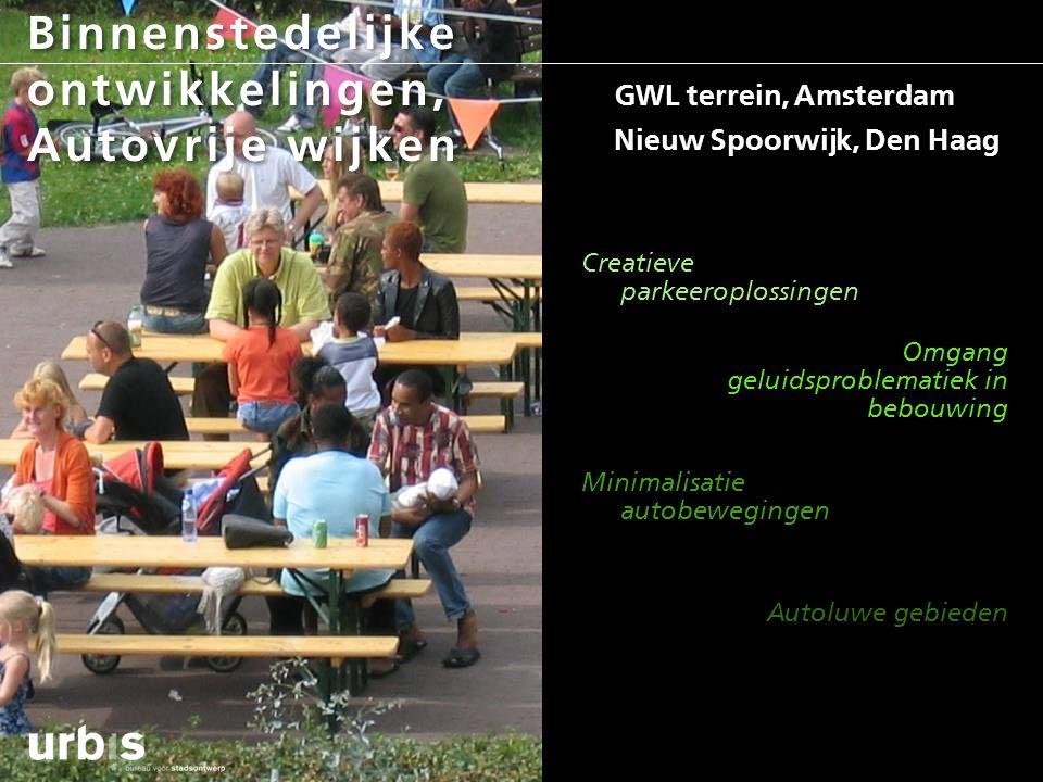 Binnenstedelijke ontwikkelingen, Autovrije wijken GWL terrein, Amsterdam Nieuw Spoorwijk, Den Haag Creatieve parkeeroplossingen Omgang geluidsproblema