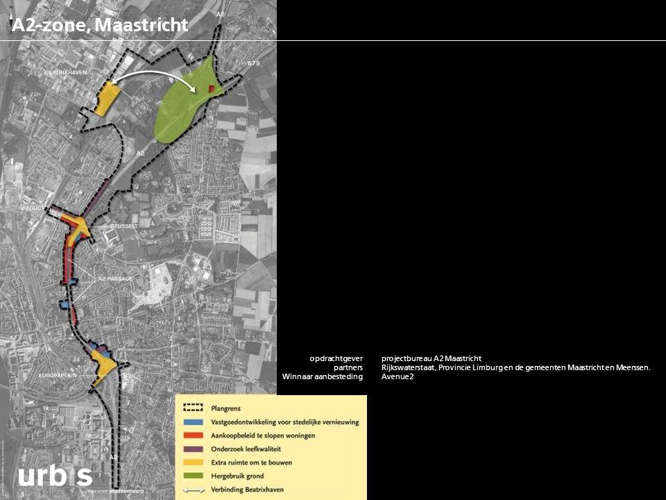 A2-zone, Maastricht opdrachtgever partners functies m2rs/ woningaantallen status project bouwkosten contactpersoon website projectbureau A2 Maastricht