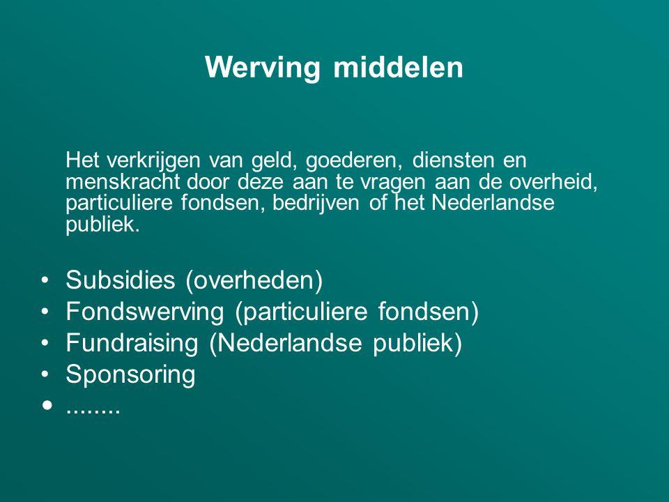 Werving middelen Het verkrijgen van geld, goederen, diensten en menskracht door deze aan te vragen aan de overheid, particuliere fondsen, bedrijven of het Nederlandse publiek.