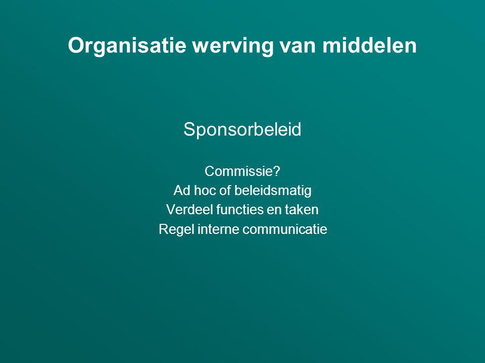 Organisatie werving van middelen Sponsorbeleid Commissie? Ad hoc of beleidsmatig Verdeel functies en taken Regel interne communicatie