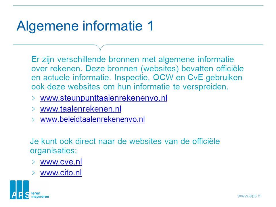 Algemene informatie 1 Er zijn verschillende bronnen met algemene informatie over rekenen.