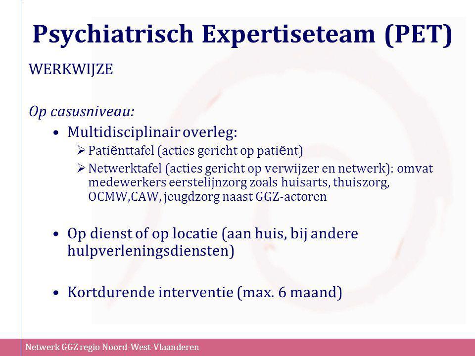 Netwerk GGZ regio Noord-West-Vlaanderen Psychiatrisch Expertiseteam (PET) WERKWIJZE Op casusniveau: •Multidisciplinair overleg:  Pati ë nttafel (acti