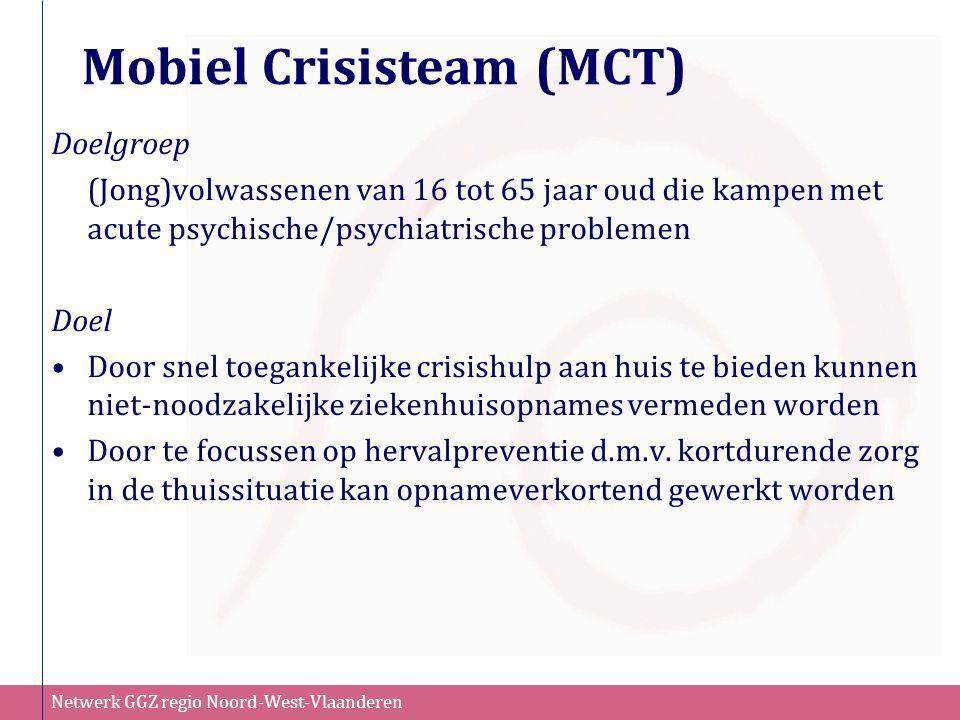 Netwerk GGZ regio Noord-West-Vlaanderen Mobiel Crisisteam (MCT) Doelgroep (Jong)volwassenen van 16 tot 65 jaar oud die kampen met acute psychische/psy