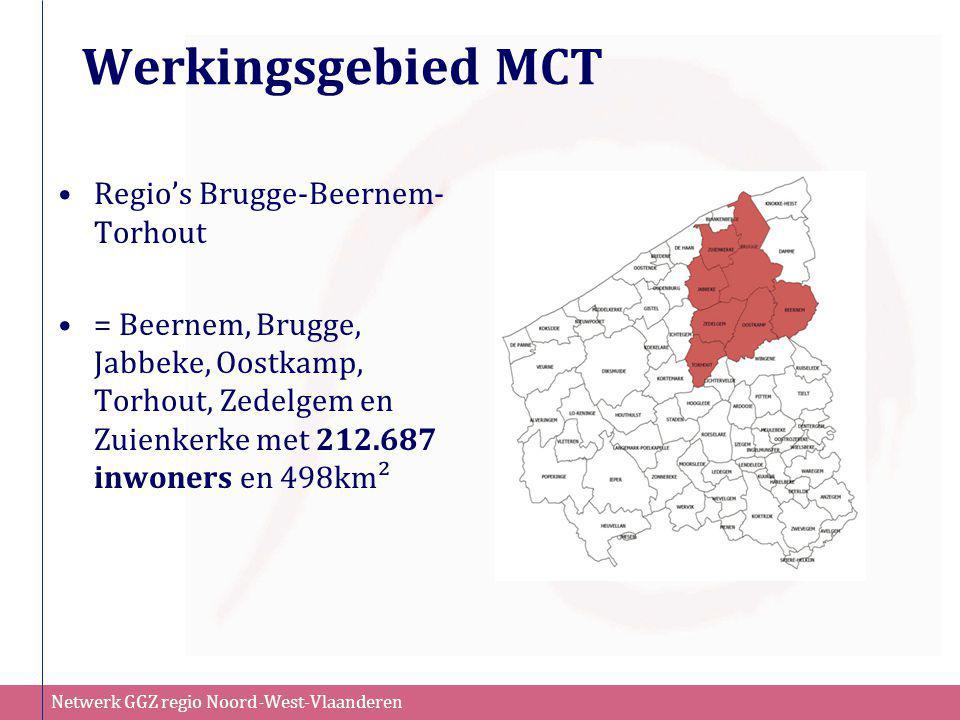 Netwerk GGZ regio Noord-West-Vlaanderen Werkingsgebied MCT •Regio's Brugge-Beernem- Torhout •= Beernem, Brugge, Jabbeke, Oostkamp, Torhout, Zedelgem e