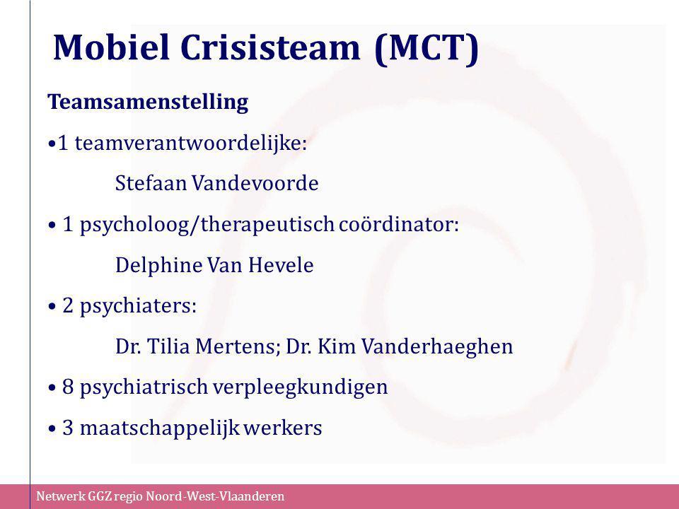 Netwerk GGZ regio Noord-West-Vlaanderen Mobiel Crisisteam (MCT) Teamsamenstelling •1 teamverantwoordelijke: Stefaan Vandevoorde • 1 psycholoog/therape