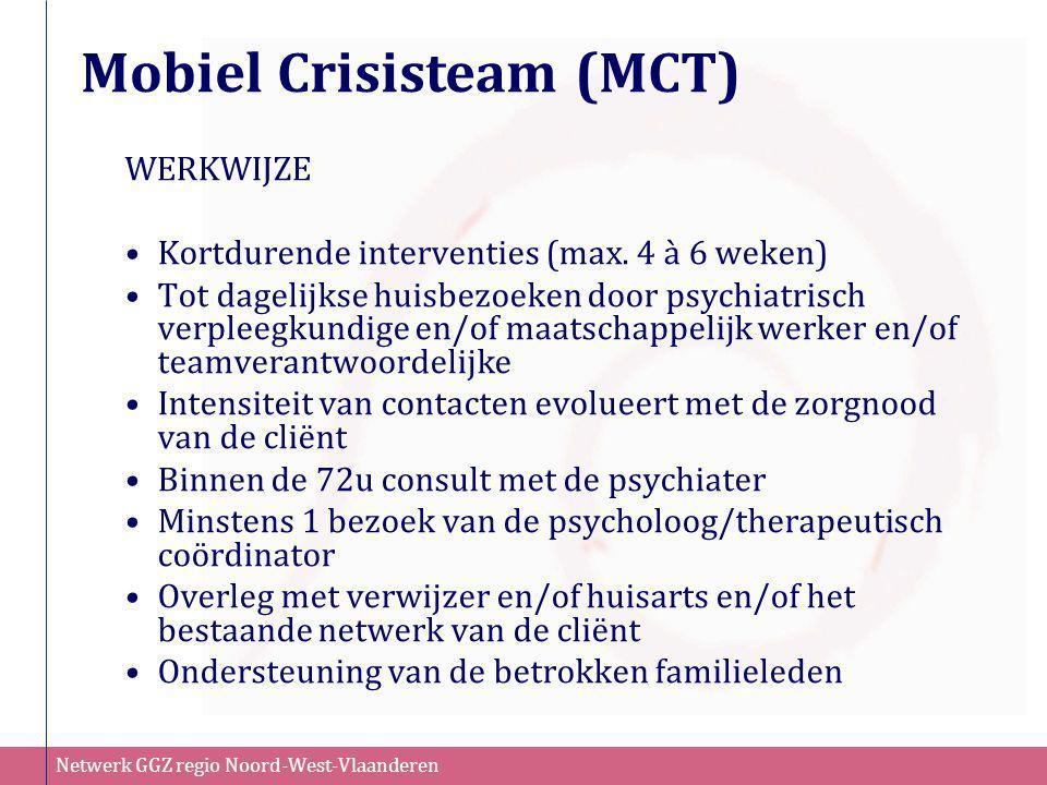 Netwerk GGZ regio Noord-West-Vlaanderen WERKWIJZE •Kortdurende interventies (max. 4 à 6 weken) •Tot dagelijkse huisbezoeken door psychiatrisch verplee