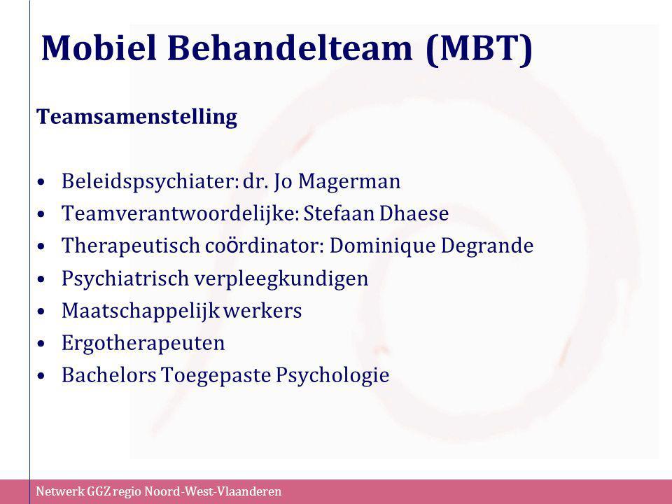 Netwerk GGZ regio Noord-West-Vlaanderen Mobiel Behandelteam (MBT) Teamsamenstelling •Beleidspsychiater: dr. Jo Magerman •Teamverantwoordelijke: Stefaa