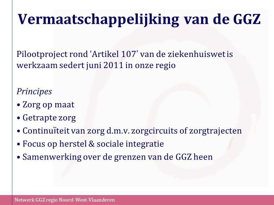 Netwerk GGZ regio Noord-West-Vlaanderen Vermaatschappelijking van de GGZ Pilootproject rond ' Artikel 107 ' van de ziekenhuiswet is werkzaam sedert ju