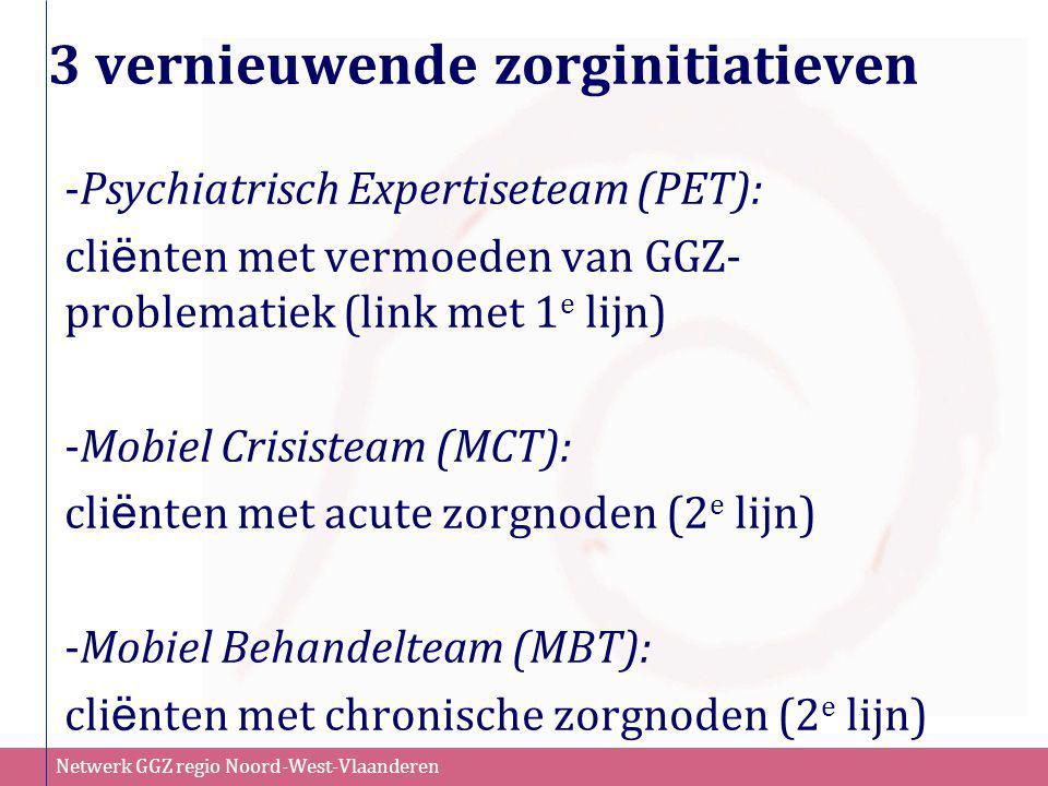 Netwerk GGZ regio Noord-West-Vlaanderen Mobiel Crisisteam (MCT) Doelgroep (Jong)volwassenen van 16 tot 65 jaar oud die kampen met acute psychische/psychiatrische problemen Doel •Door snel toegankelijke crisishulp aan huis te bieden kunnen niet-noodzakelijke ziekenhuisopnames vermeden worden •Door te focussen op hervalpreventie d.m.v.