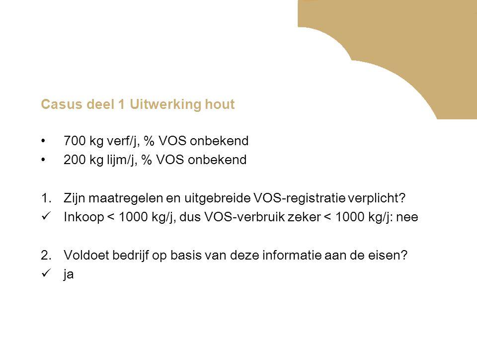 Casus deel 1 Uitwerking hout •700 kg verf/j, % VOS onbekend •200 kg lijm/j, % VOS onbekend 1.Zijn maatregelen en uitgebreide VOS-registratie verplicht