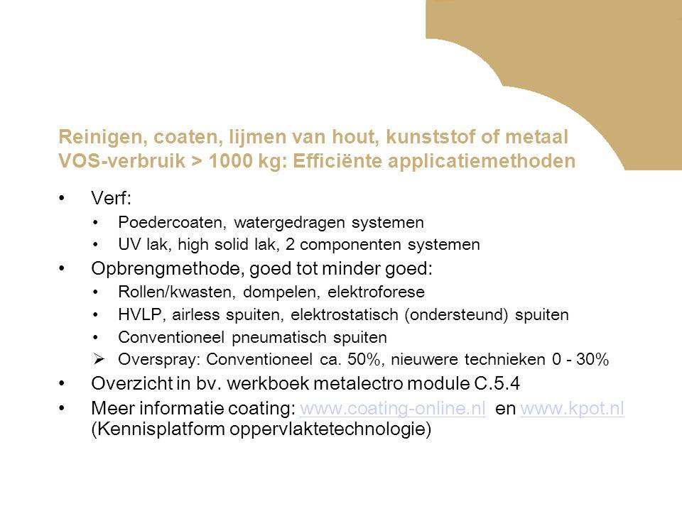 Reinigen, coaten, lijmen van hout, kunststof of metaal VOS-verbruik > 1000 kg: Efficiënte applicatiemethoden •Verf: •Poedercoaten, watergedragen systemen •UV lak, high solid lak, 2 componenten systemen •Opbrengmethode, goed tot minder goed: •Rollen/kwasten, dompelen, elektroforese •HVLP, airless spuiten, elektrostatisch (ondersteund) spuiten •Conventioneel pneumatisch spuiten  Overspray: Conventioneel ca.