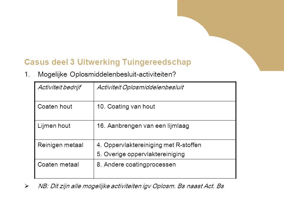 Casus deel 3 Uitwerking Tuingereedschap 1.Mogelijke Oplosmiddelenbesluit-activiteiten.