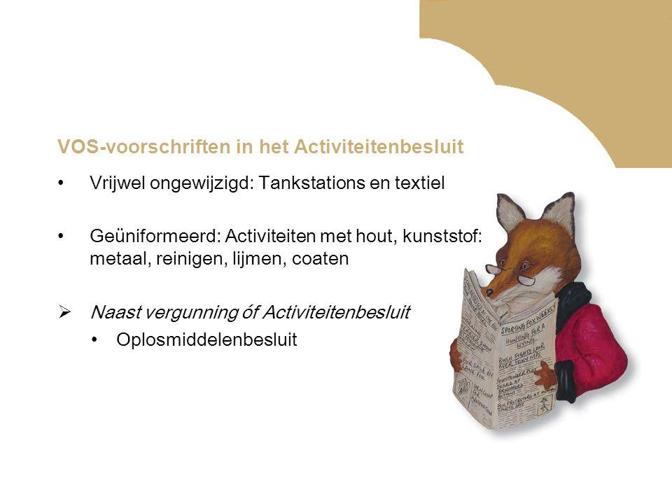 VOS-voorschriften in het Activiteitenbesluit •Vrijwel ongewijzigd: Tankstations en textiel •Geüniformeerd: Activiteiten met hout, kunststof: metaal, r