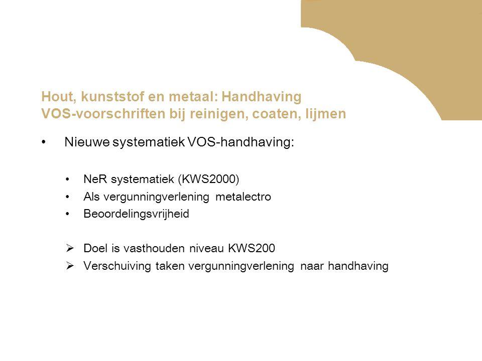 Hout, kunststof en metaal: Handhaving VOS-voorschriften bij reinigen, coaten, lijmen •Nieuwe systematiek VOS-handhaving: •NeR systematiek (KWS2000) •A