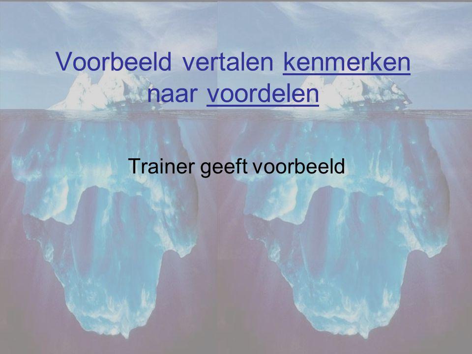 Voorbeeld vertalen kenmerken naar voordelen Trainer geeft voorbeeld