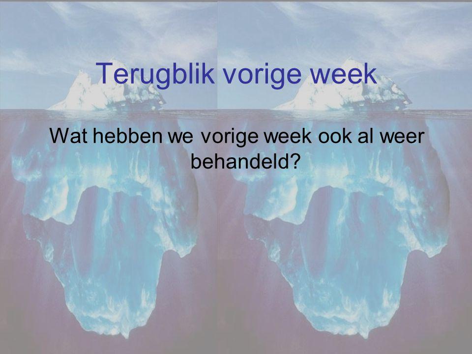 Terugblik vorige week Wat hebben we vorige week ook al weer behandeld?