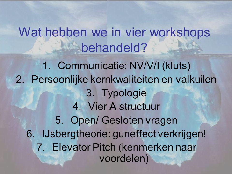 Wat hebben we in vier workshops behandeld? 1.Communicatie: NV/V/I (kluts) 2.Persoonlijke kernkwaliteiten en valkuilen 3.Typologie 4.Vier A structuur 5