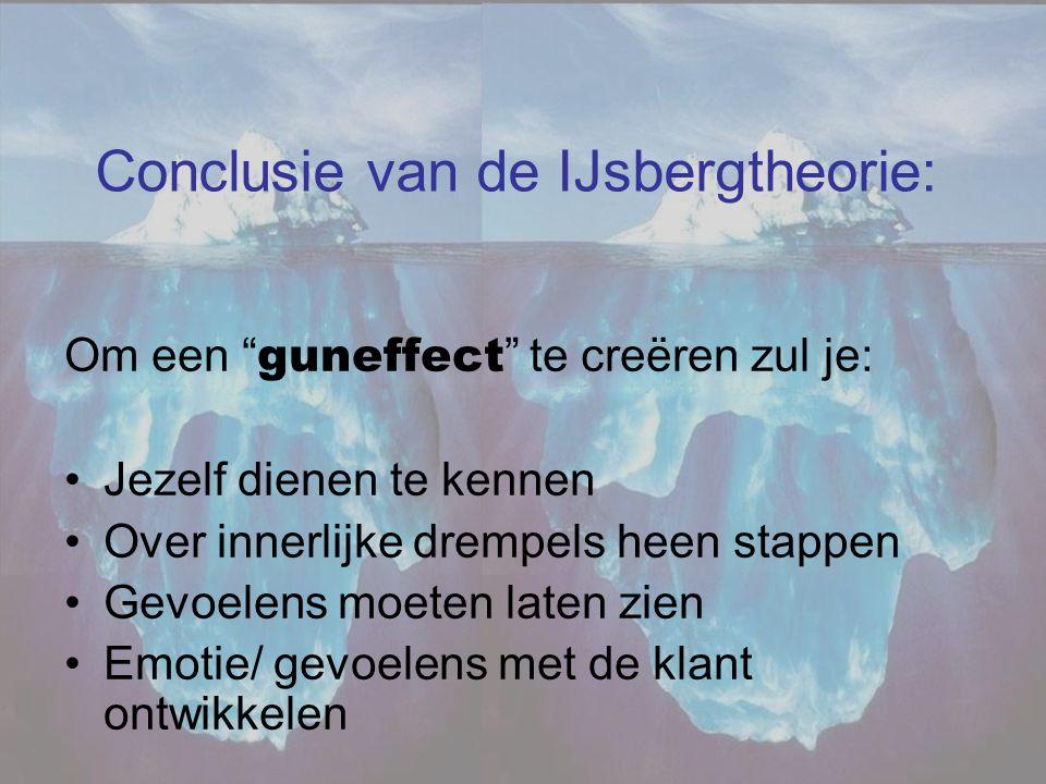"""Conclusie van de IJsbergtheorie: Om een """" guneffect """" te creëren zul je: •Jezelf dienen te kennen •Over innerlijke drempels heen stappen •Gevoelens mo"""