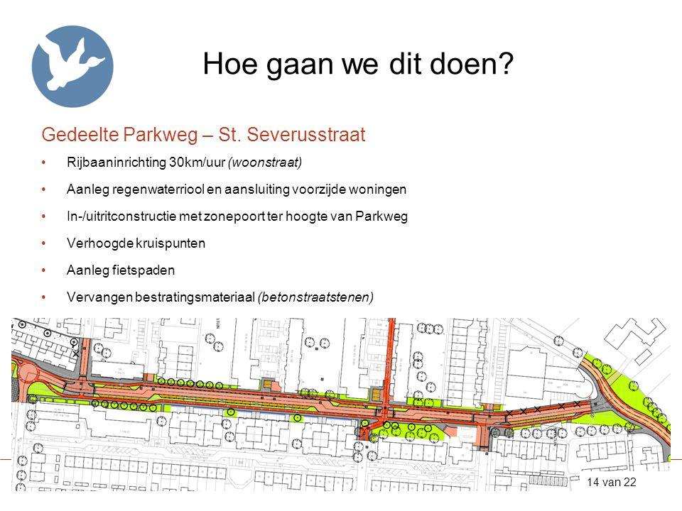 Hoe gaan we dit doen? Gedeelte Parkweg – St. Severusstraat •Rijbaaninrichting 30km/uur (woonstraat) •Aanleg regenwaterriool en aansluiting voorzijde w