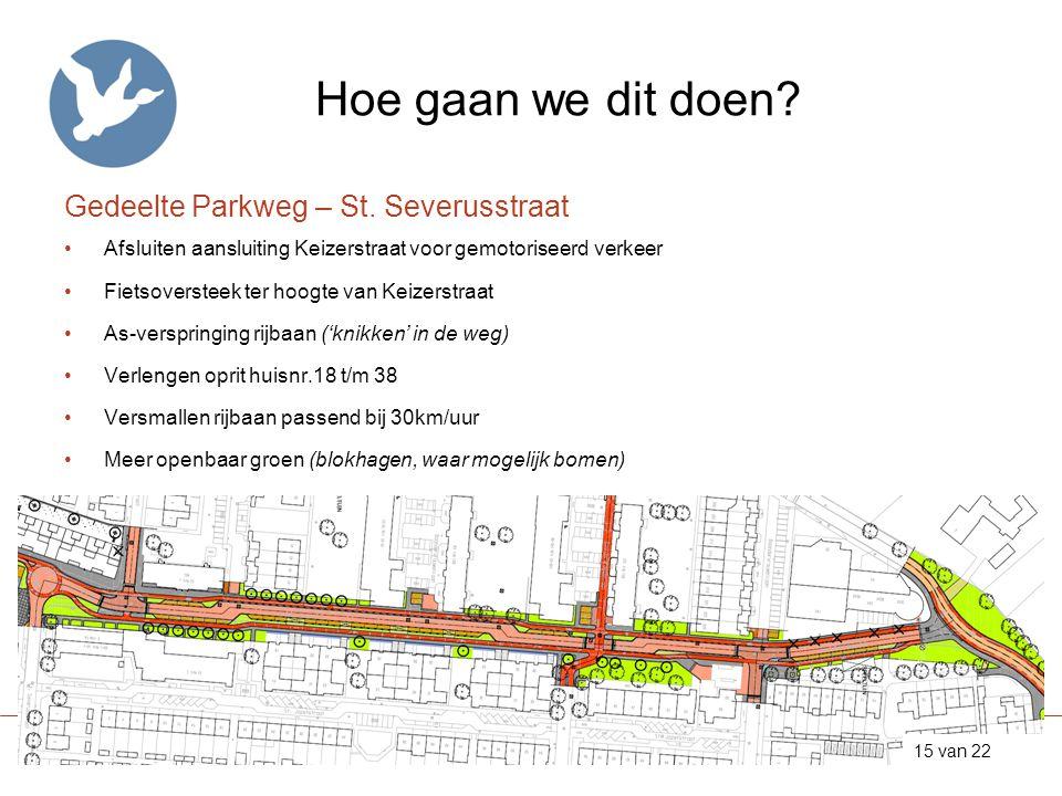 Hoe gaan we dit doen? Gedeelte Parkweg – St. Severusstraat •Afsluiten aansluiting Keizerstraat voor gemotoriseerd verkeer •Fietsoversteek ter hoogte v