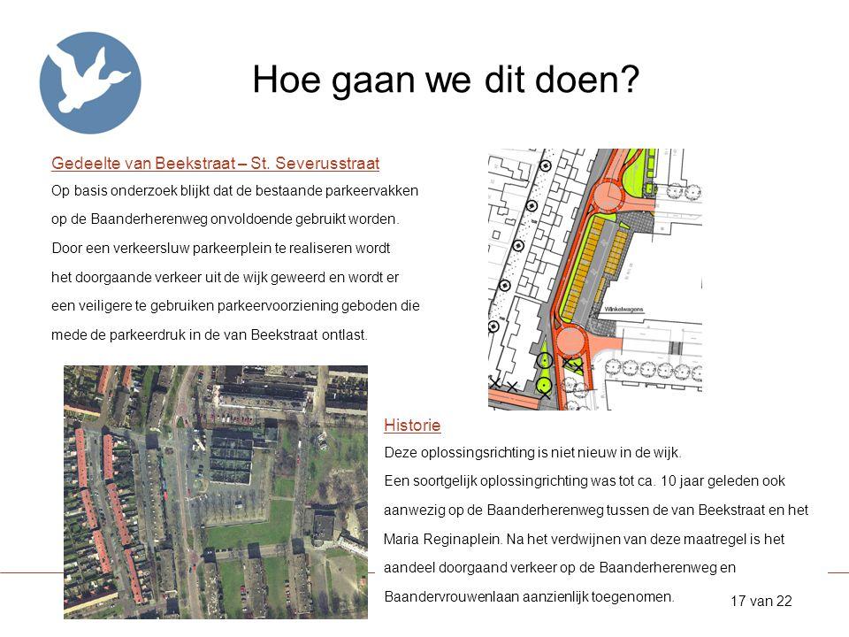 Hoe gaan we dit doen? Gedeelte van Beekstraat – St. Severusstraat Op basis onderzoek blijkt dat de bestaande parkeervakken op de Baanderherenweg onvol