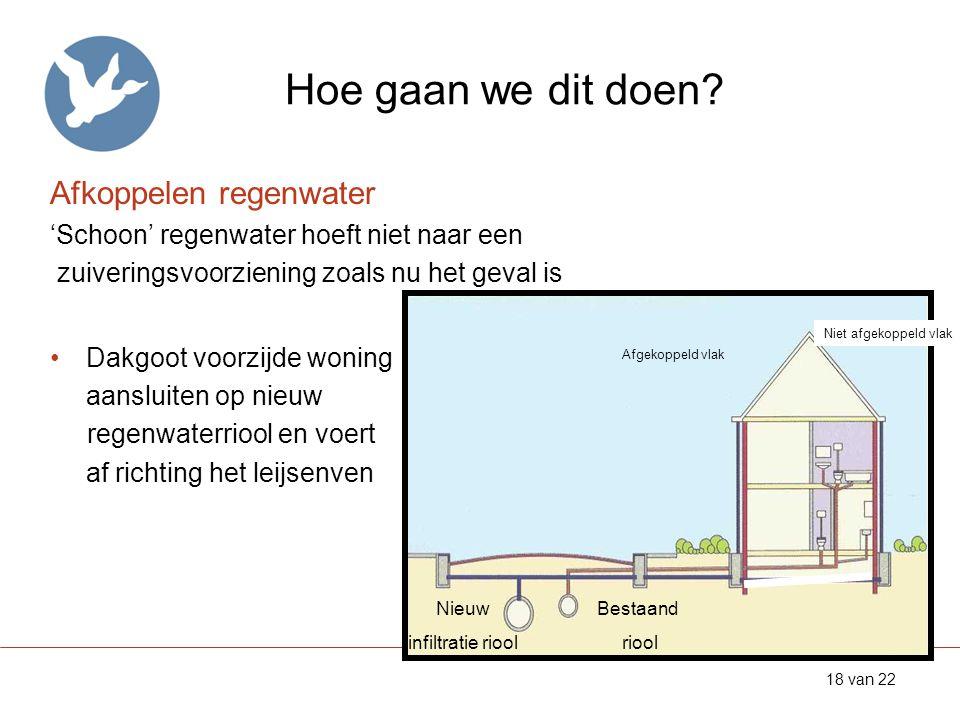 Hoe gaan we dit doen? 18 van 22 Afkoppelen regenwater 'Schoon' regenwater hoeft niet naar een zuiveringsvoorziening zoals nu het geval is •Dakgoot voo
