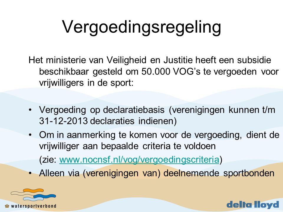 Vergoedingsregeling Het ministerie van Veiligheid en Justitie heeft een subsidie beschikbaar gesteld om 50.000 VOG's te vergoeden voor vrijwilligers in de sport: •Vergoeding op declaratiebasis (verenigingen kunnen t/m 31-12-2013 declaraties indienen) •Om in aanmerking te komen voor de vergoeding, dient de vrijwilliger aan bepaalde criteria te voldoen (zie: www.nocnsf.nl/vog/vergoedingscriteria)www.nocnsf.nl/vog/vergoedingscriteria •Alleen via (verenigingen van) deelnemende sportbonden