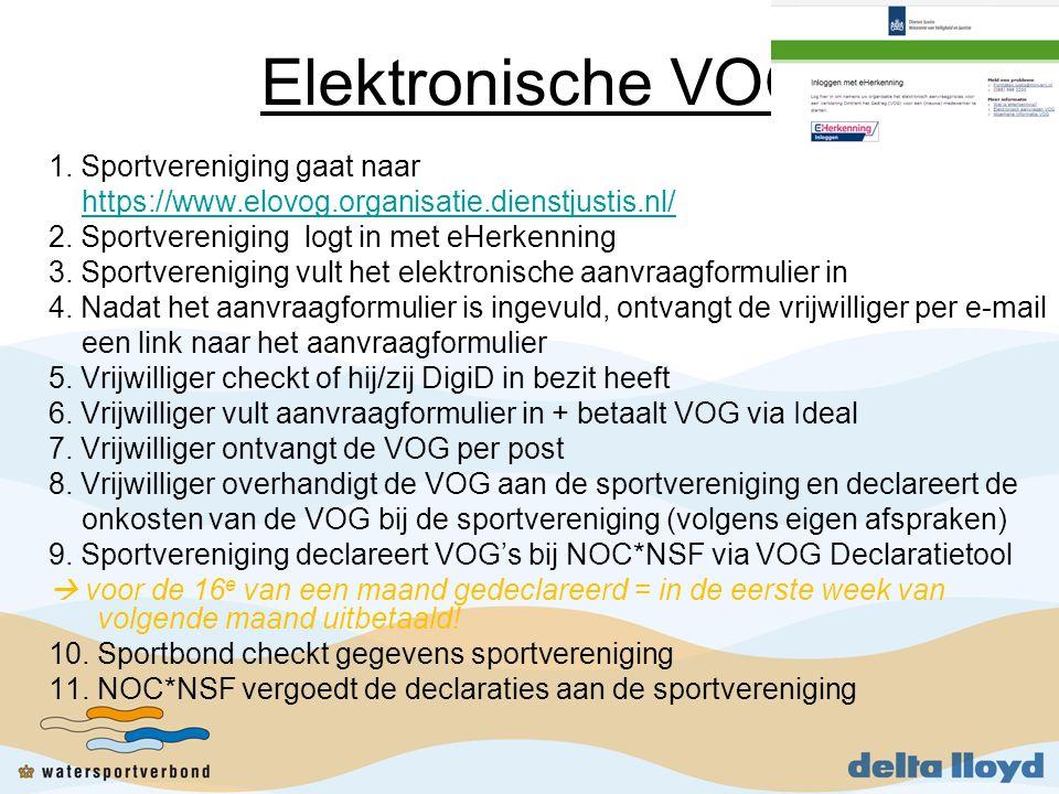 Elektronische VOG 1.Sportvereniging gaat naar https://www.elovog.organisatie.dienstjustis.nl/ 2.