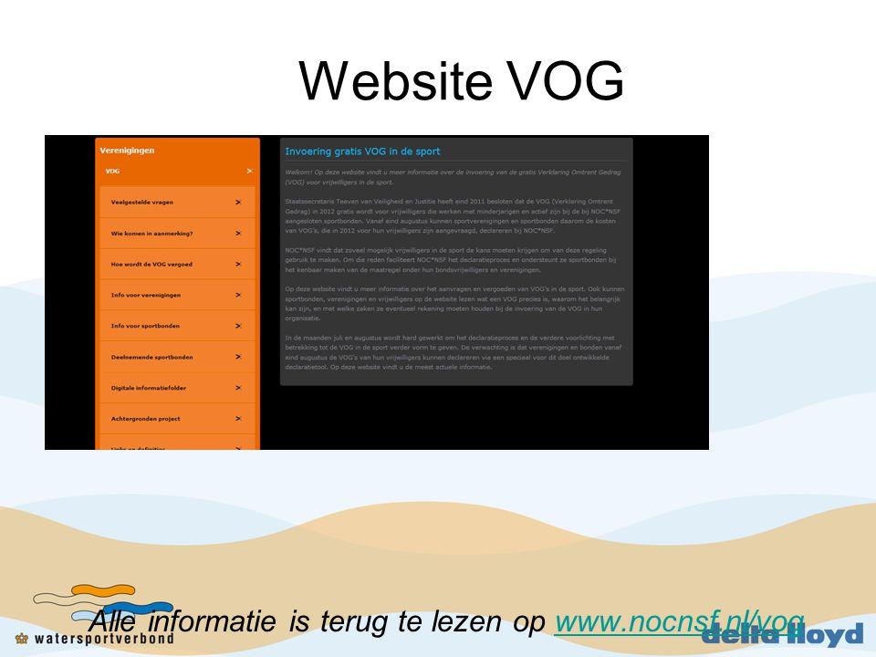 Website VOG Alle informatie is terug te lezen op www.nocnsf.nl/vogwww.nocnsf.nl/vog