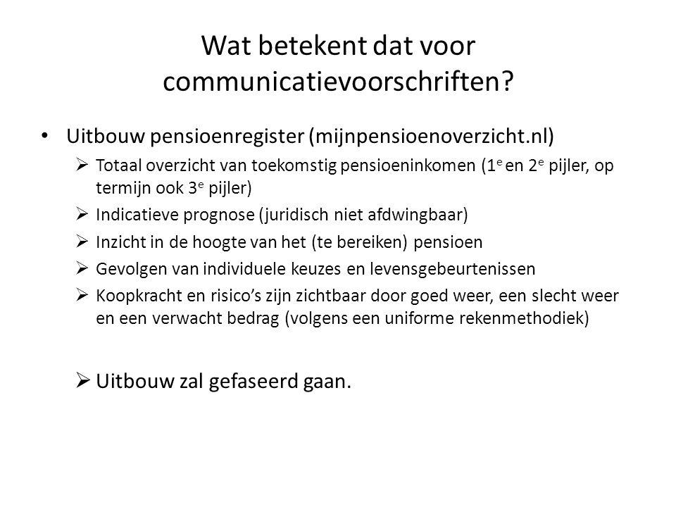 Wat betekent dat voor communicatievoorschriften? • Uitbouw pensioenregister (mijnpensioenoverzicht.nl)  Totaal overzicht van toekomstig pensioeninkom