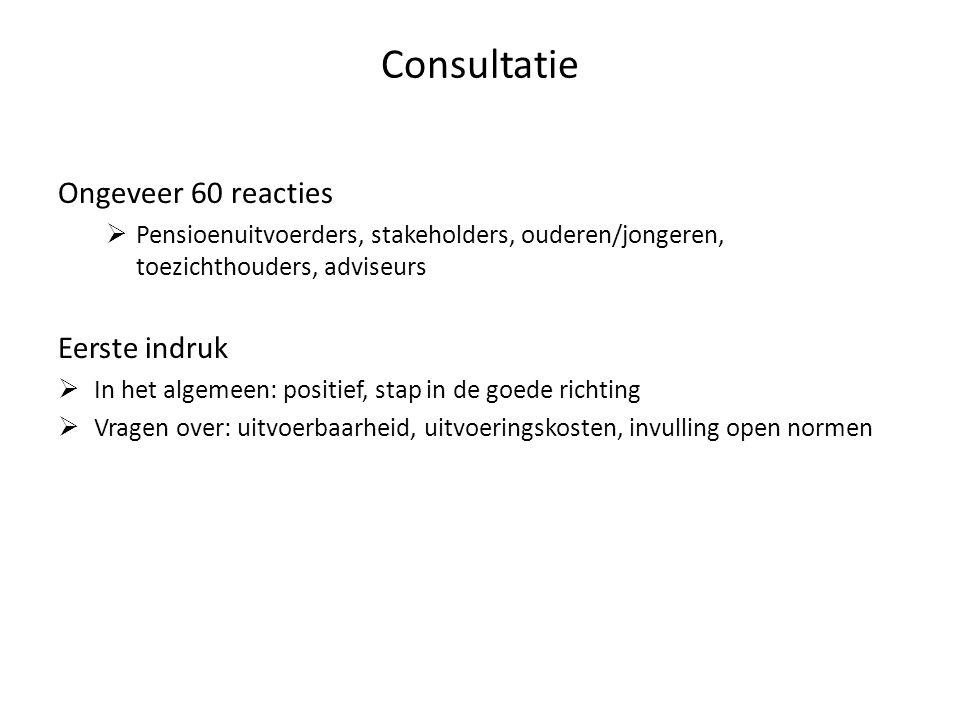 Consultatie Ongeveer 60 reacties  Pensioenuitvoerders, stakeholders, ouderen/jongeren, toezichthouders, adviseurs Eerste indruk  In het algemeen: po