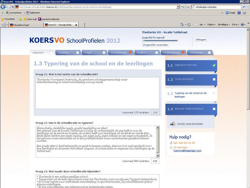 Screendump? www.koersvo.nl 15 Schoolprofiel Koers VO