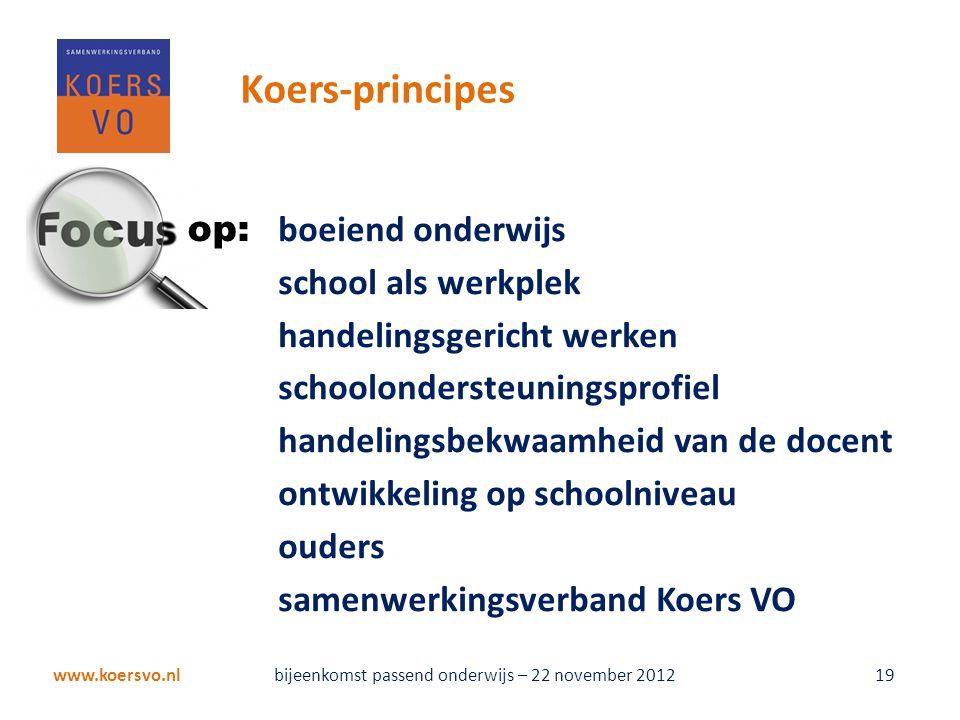 Koers-principes boeiend onderwijs school als werkplek handelingsgericht werken schoolondersteuningsprofiel handelingsbekwaamheid van de docent ontwikk