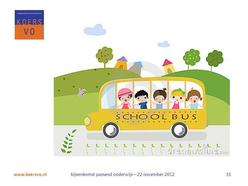 www.koersvo.nl bijeenkomst passend onderwijs – 22 november 2012 31