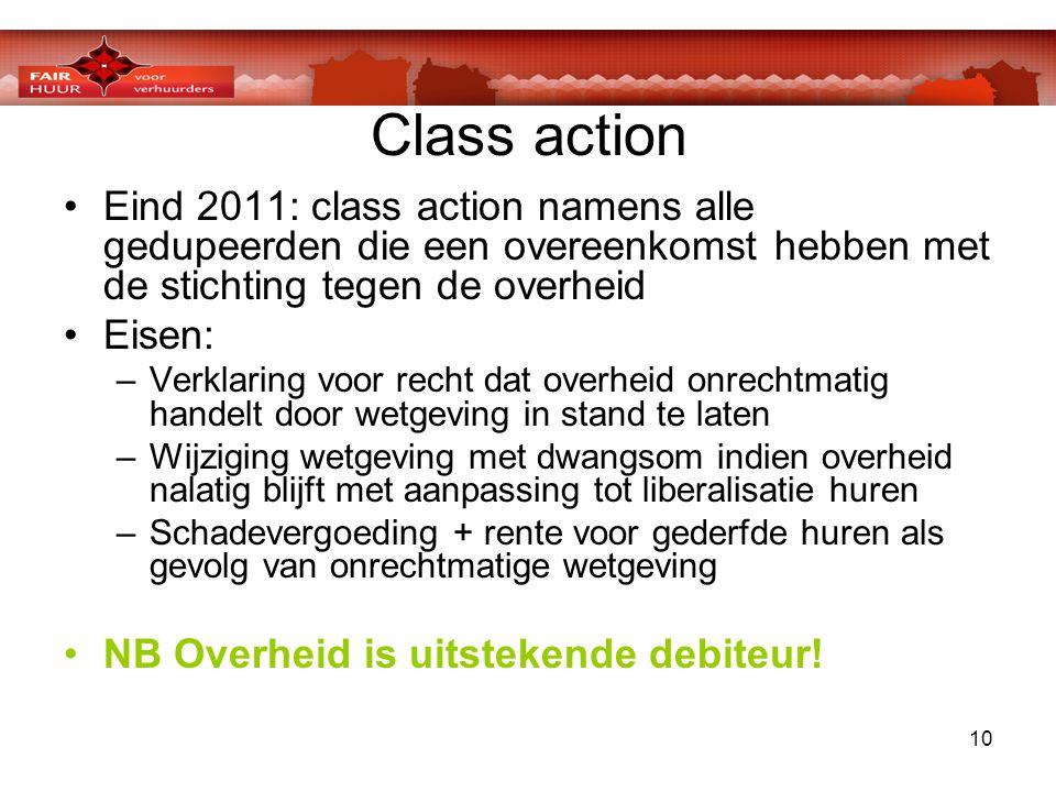 10 Class action •Eind 2011: class action namens alle gedupeerden die een overeenkomst hebben met de stichting tegen de overheid •Eisen: –Verklaring vo