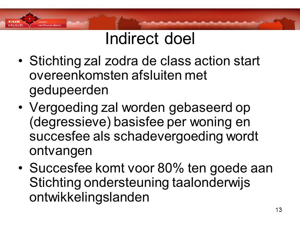 13 Indirect doel •Stichting zal zodra de class action start overeenkomsten afsluiten met gedupeerden •Vergoeding zal worden gebaseerd op (degressieve)