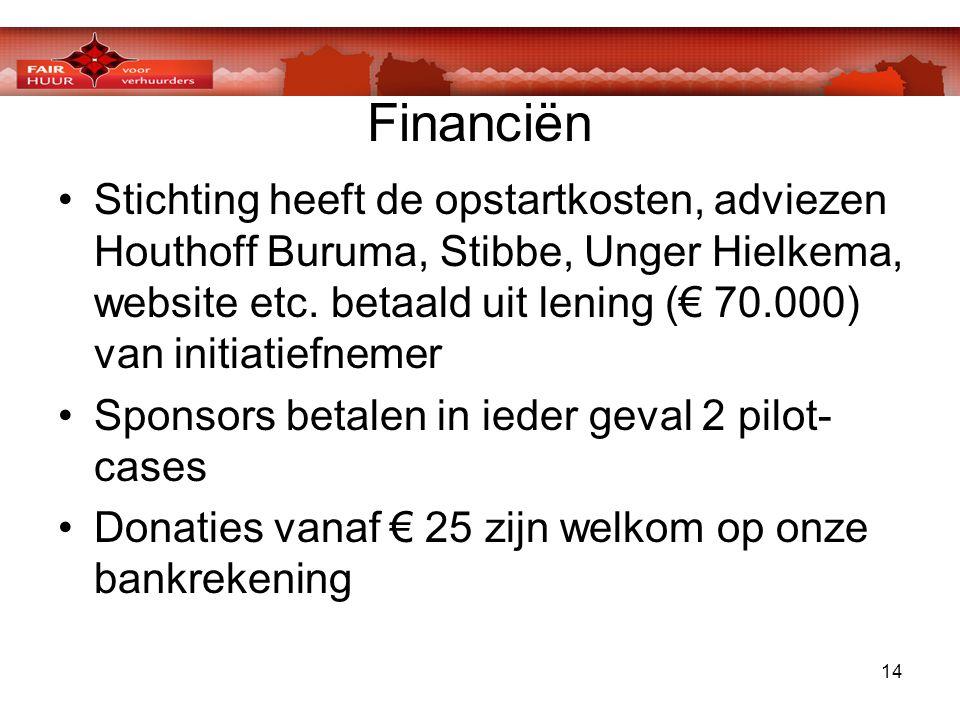 14 Financiën •Stichting heeft de opstartkosten, adviezen Houthoff Buruma, Stibbe, Unger Hielkema, website etc. betaald uit lening (€ 70.000) van initi
