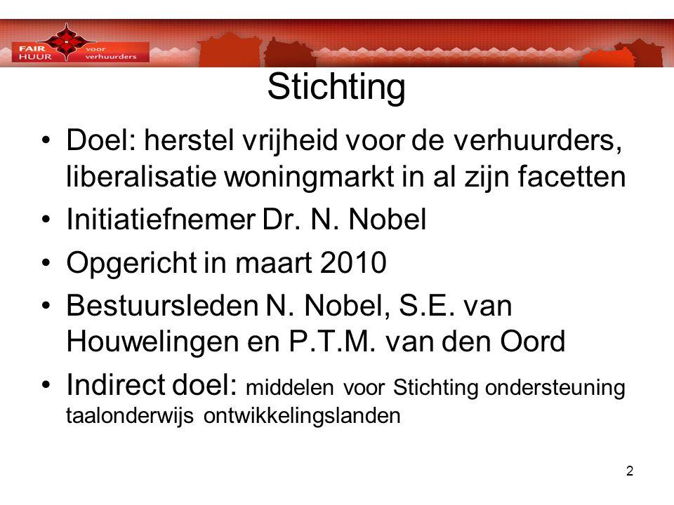 2 Stichting •Doel: herstel vrijheid voor de verhuurders, liberalisatie woningmarkt in al zijn facetten •Initiatiefnemer Dr. N. Nobel •Opgericht in maa