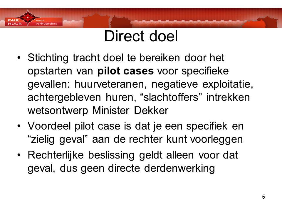 5 Direct doel •Stichting tracht doel te bereiken door het opstarten van pilot cases voor specifieke gevallen: huurveteranen, negatieve exploitatie, ac