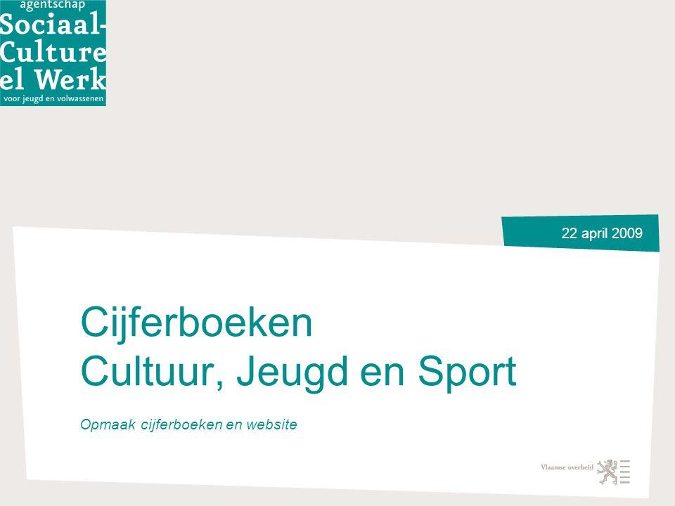 22 april 2009 Cijferboeken Cultuur, Jeugd en Sport Opmaak cijferboeken en website