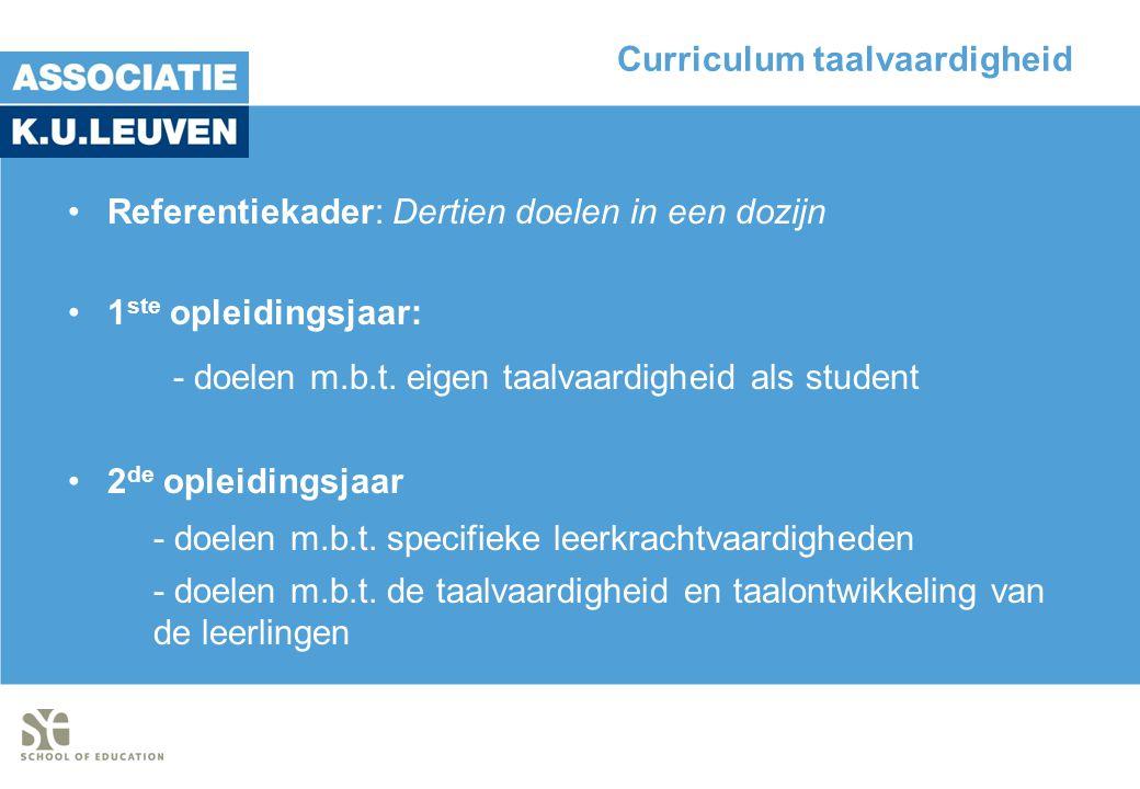 Curriculum taalvaardigheid •Referentiekader: Dertien doelen in een dozijn •1 ste opleidingsjaar: - doelen m.b.t.