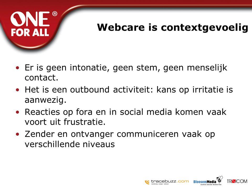 Webcare is contextgevoelig •Er is geen intonatie, geen stem, geen menselijk contact. •Het is een outbound activiteit: kans op irritatie is aanwezig. •
