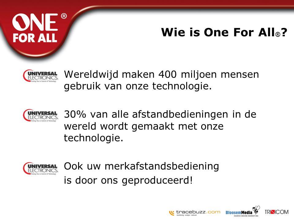 Wie is One For All ® ? •Wereldwijd maken 400 miljoen mensen gebruik van onze technologie. •30% van alle afstandbedieningen in de wereld wordt gemaakt