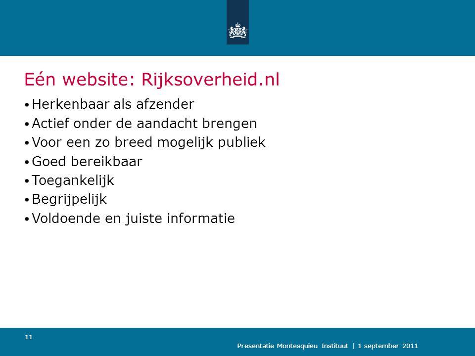 Presentatie Montesquieu Instituut | 1 september 2011 12 Verdwijnen naam Postbus51 Communicatie van en mét de Rijksoverheid: Campagnes Telefoon Internet E-mail Vertrouwd, toegankelijk en betrouwbaar